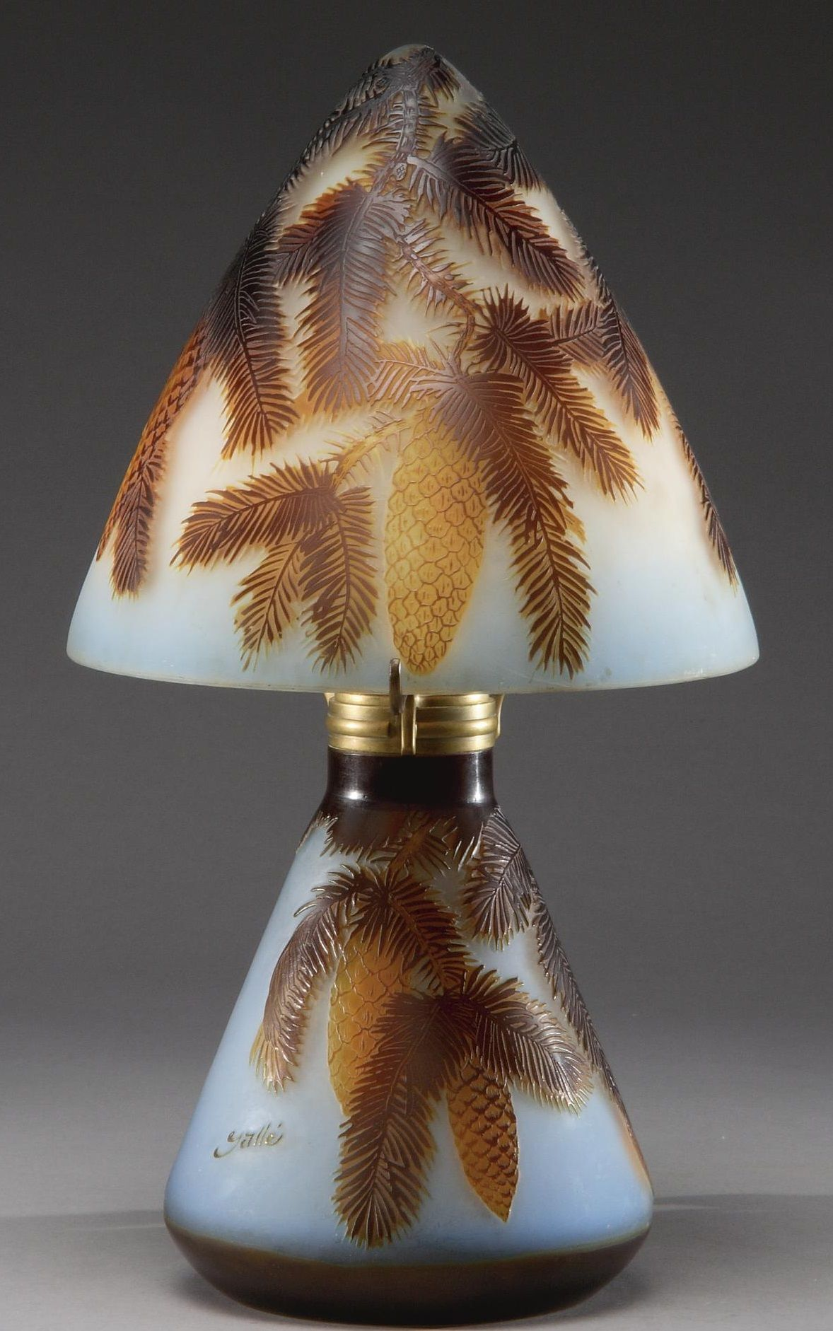 "An Emile Gallé Cameo Glass ""Pinecone"" Lamp circa 1920 signed in"