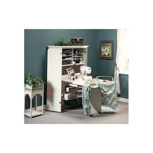 Craft Sewing Hobby Armoire Storage Cabinet Fold Away Table Shelves Work Station