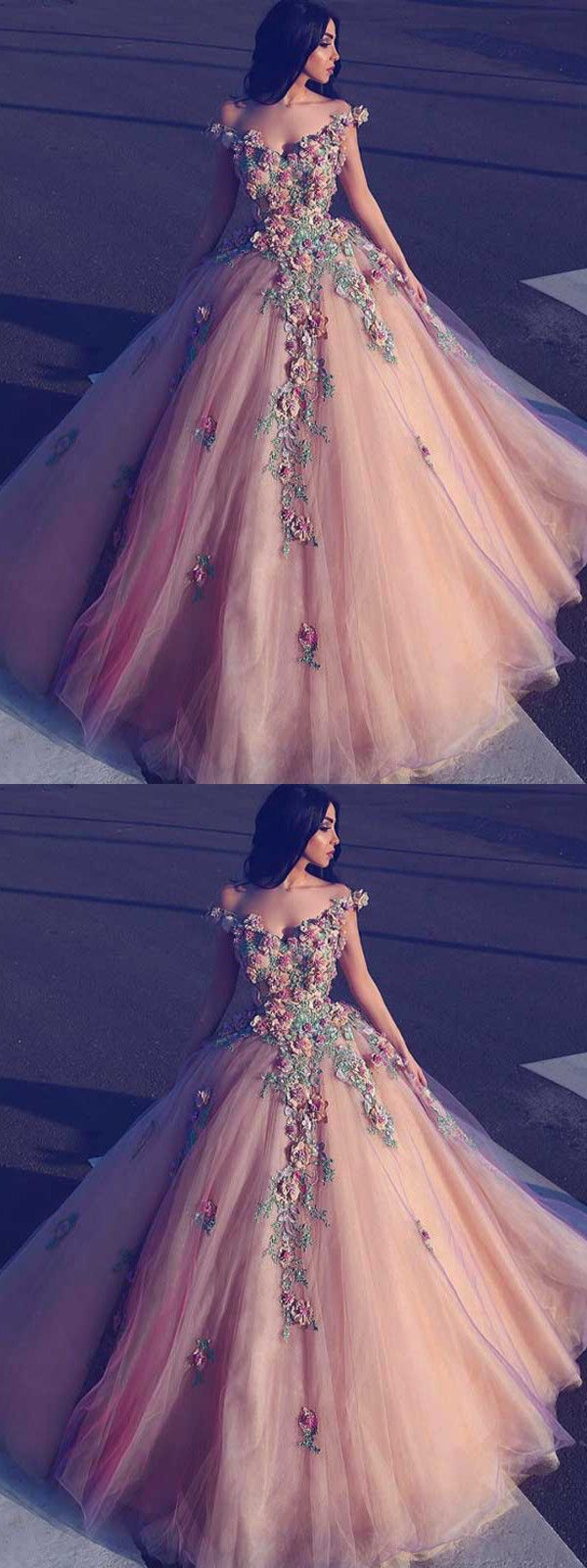 chic ball gowns pink prom dresses with applique african prom