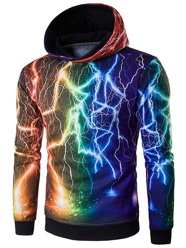 Fire and Ice Wolf Hoodies Men 3D Graphic Pullover Sweatshirt