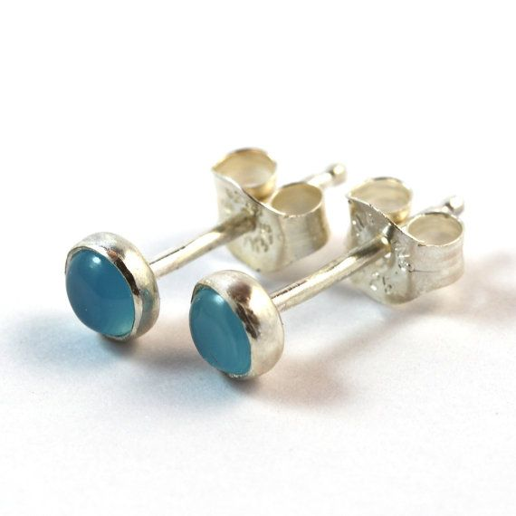 Light Blue Chalcedony Round Studs