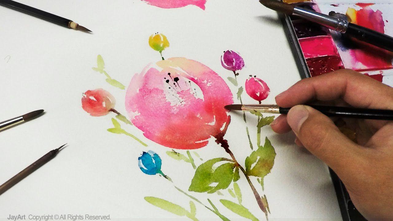 Mini Flowers Watercolor Painting 꽃그리기 - Level 4