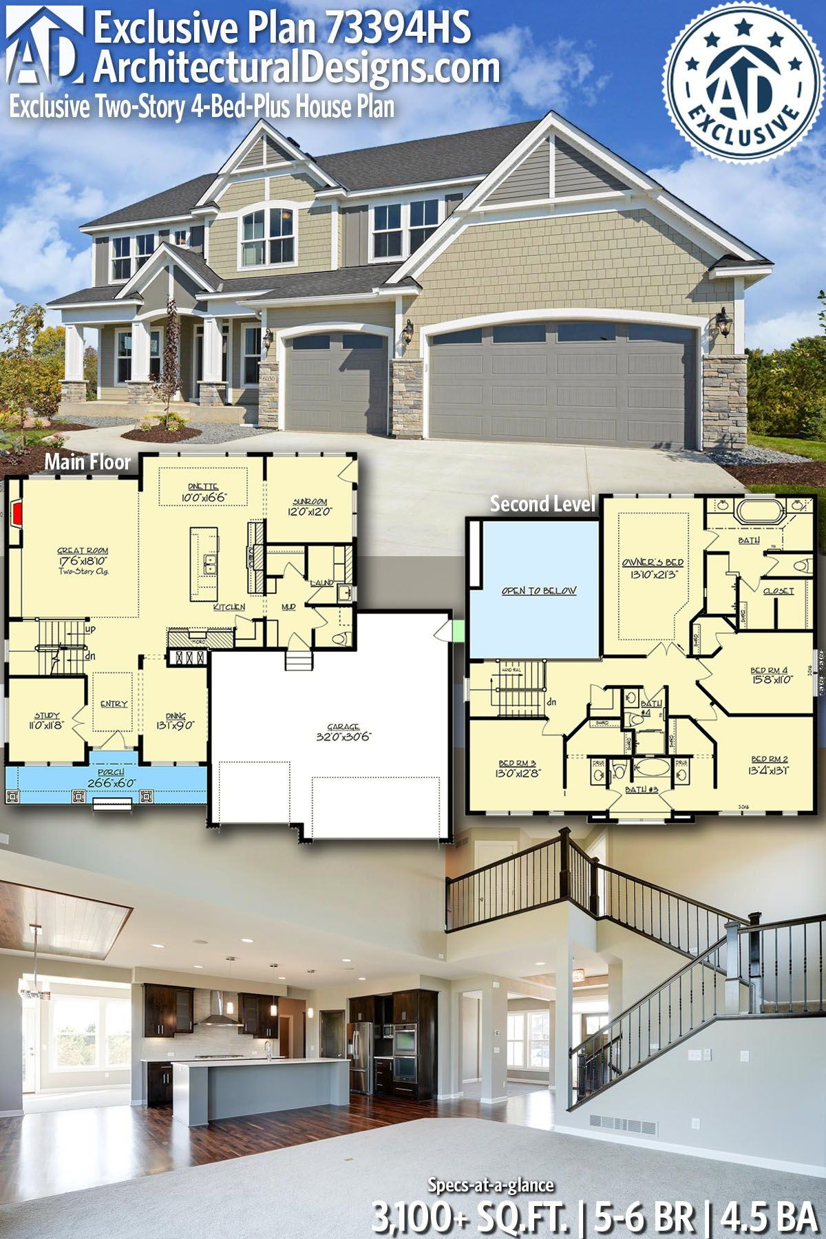 Plan 73394hs Exclusive Two Story 4 Bed Plus House Plan House Blueprints Exclusive House Plan New House Plans