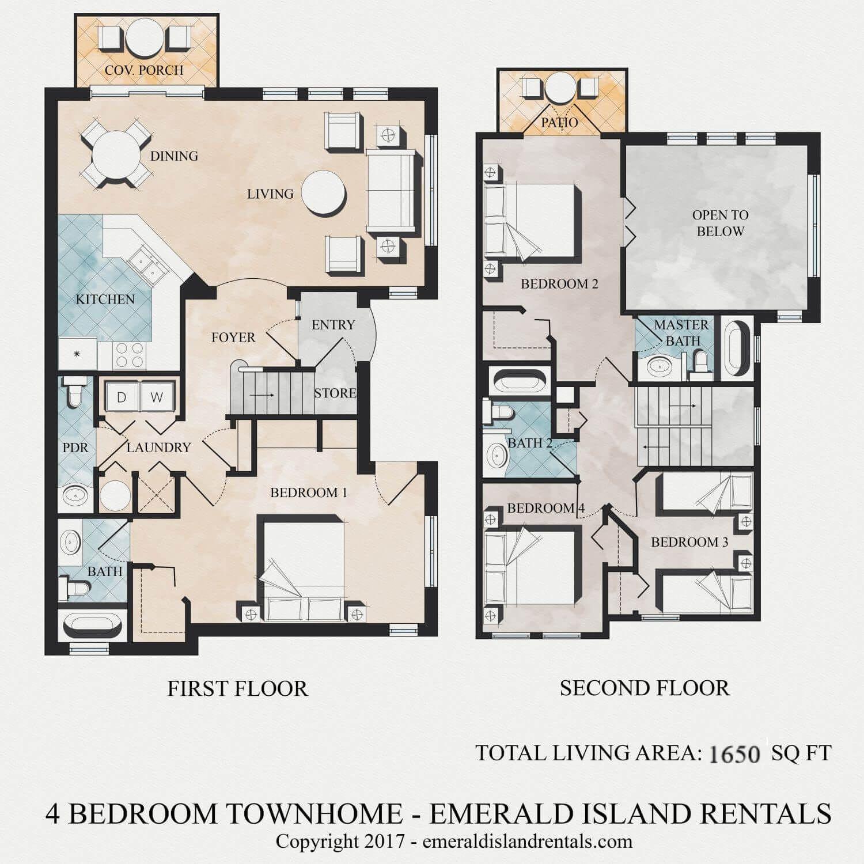 Emerald Island 4 Bed Villa Floor Plan Floor Plans Bath Store Second Floor
