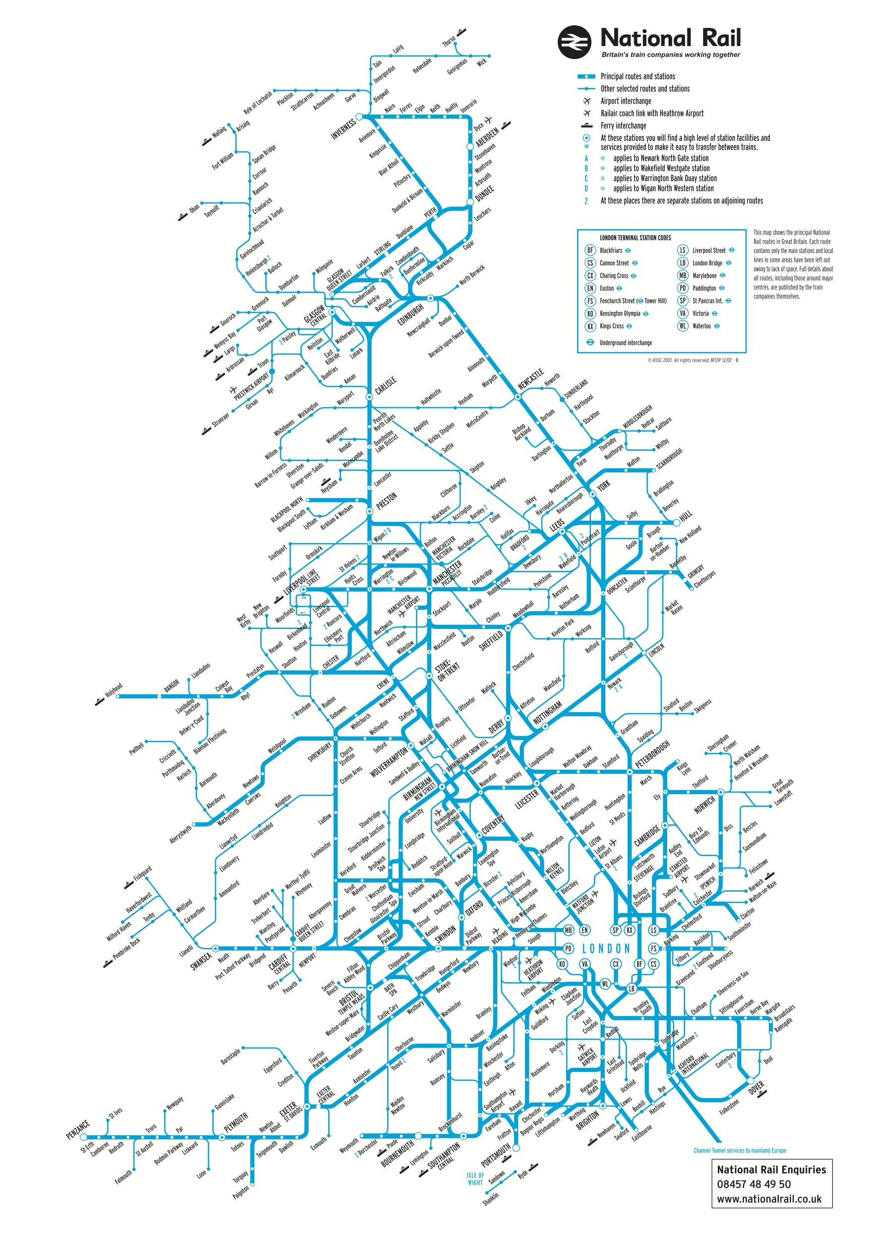 National Rail Map Of All Stations On The Network England Not - National rail map london