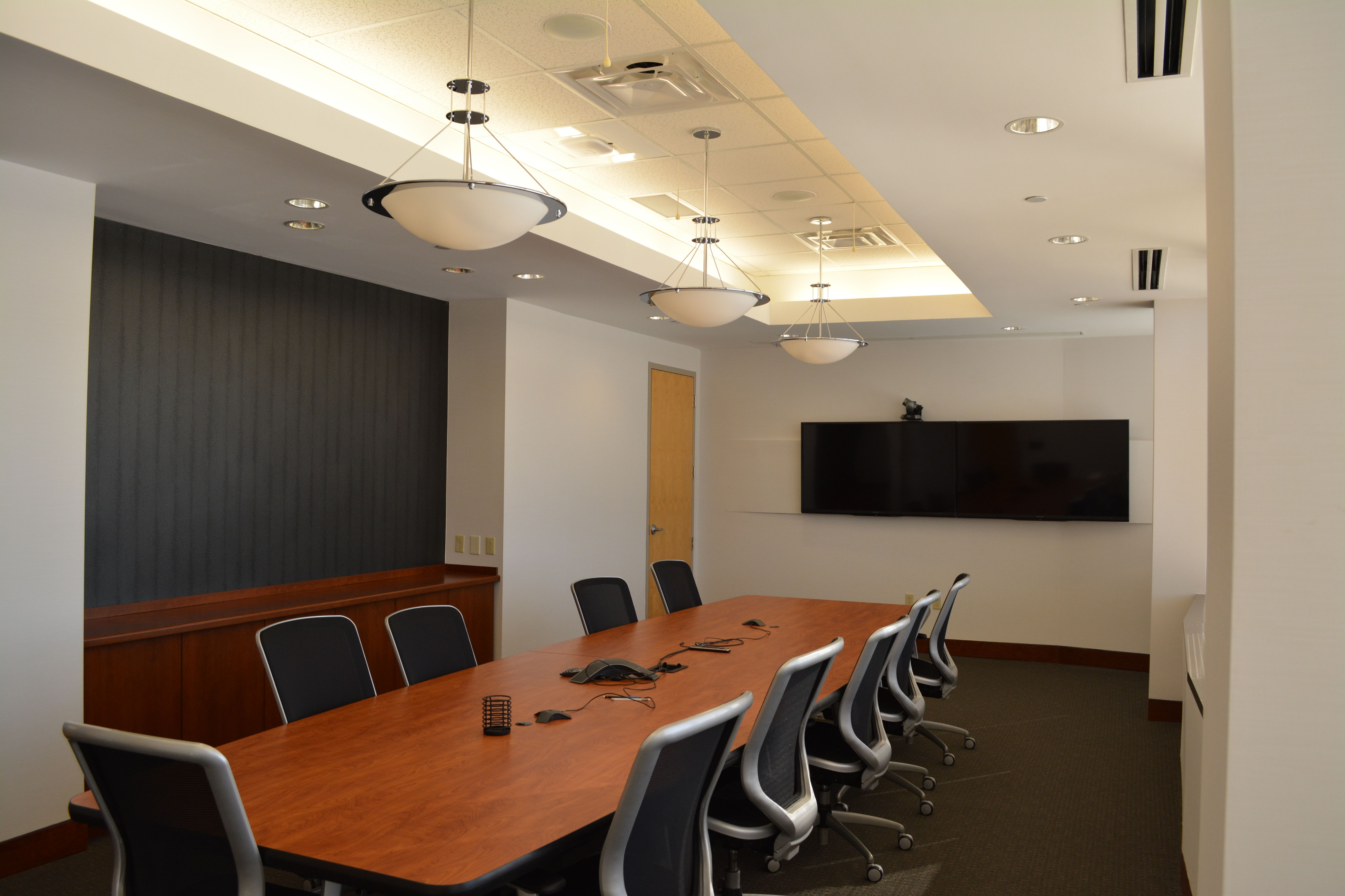Conference Room Bulkhead Pendant Recessed Lights Cove Lighting Wallcovering Wood