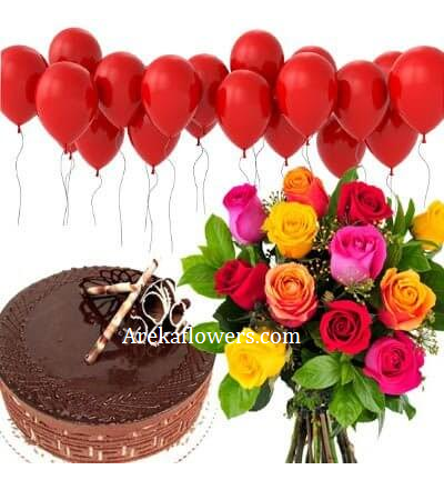 Wondrous Birthday Hamper With Flowers Cakes And Balloons Birthday Funny Birthday Cards Online Chimdamsfinfo