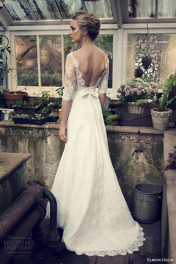 Lace plunge back wedding dress