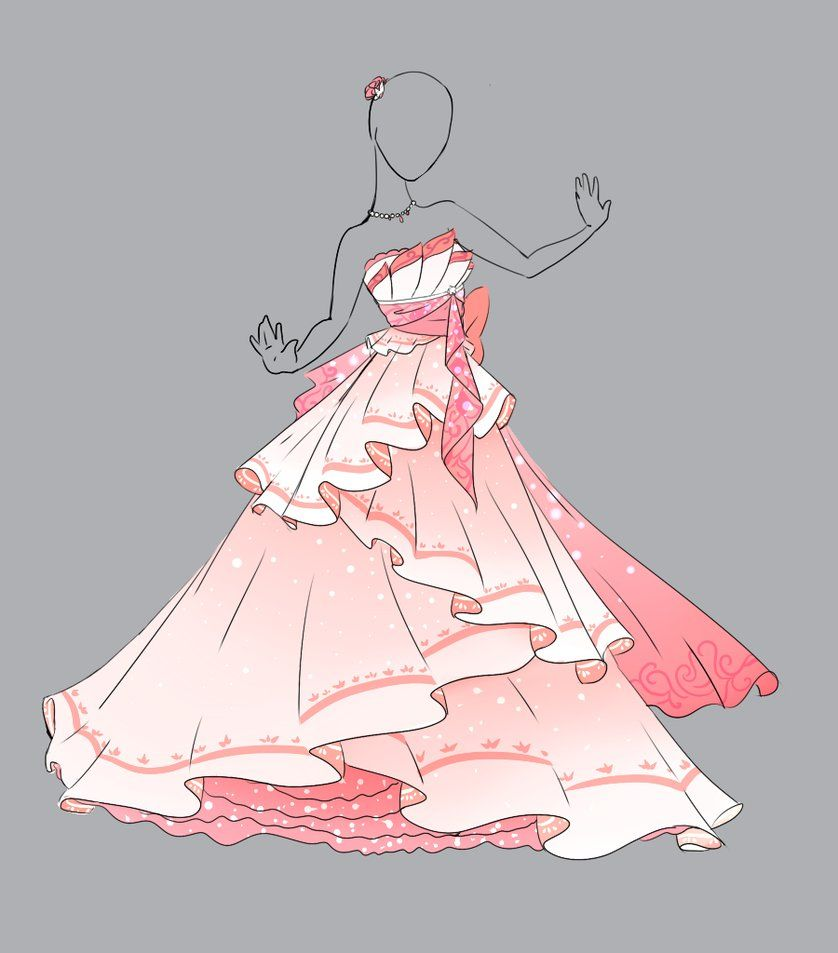 Anime Ball Gown White With Red Roses