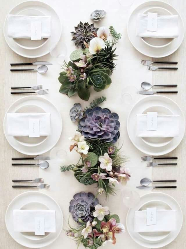Mother 39 s day table setting with succulent centerpieces for How to dress a wedding table