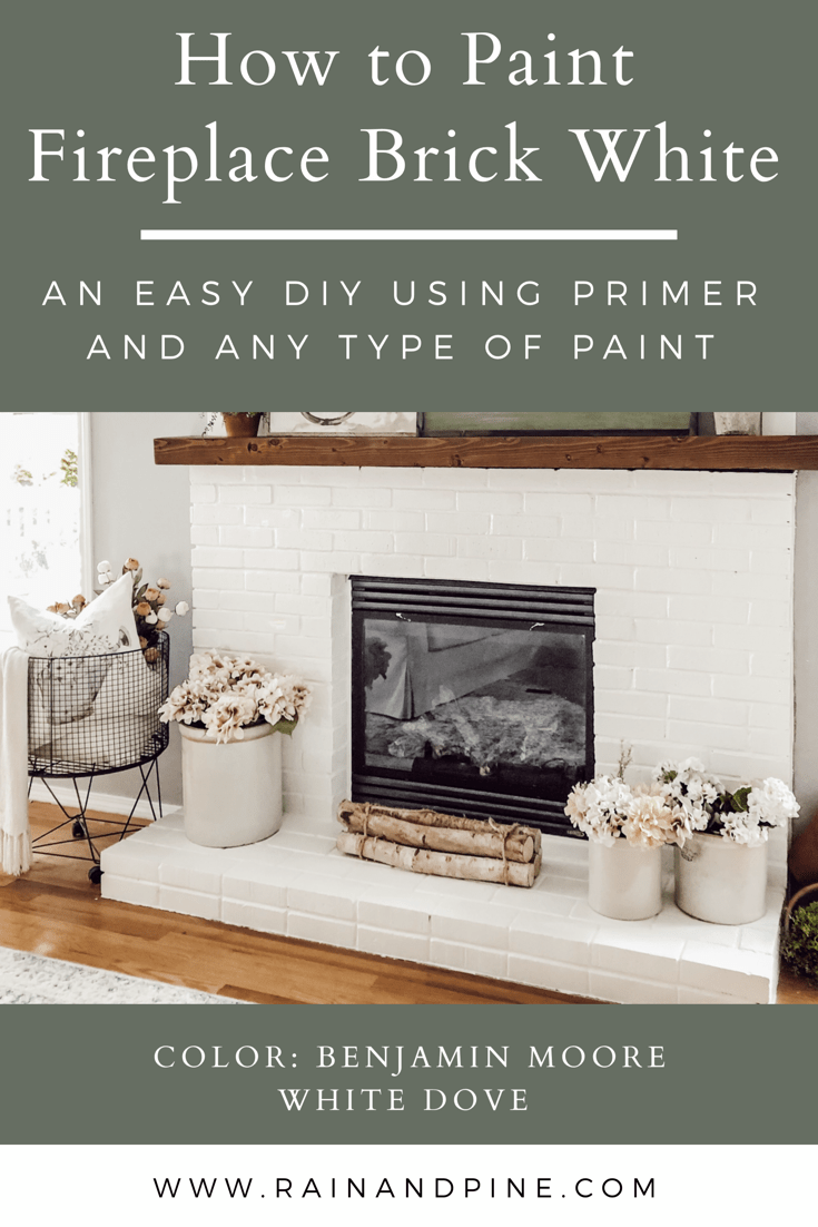 How To Paint Fireplace Brick White With Primer And Regular Paint In 2020 Paint Fireplace Living Room Decor Fireplace Brick Fireplace