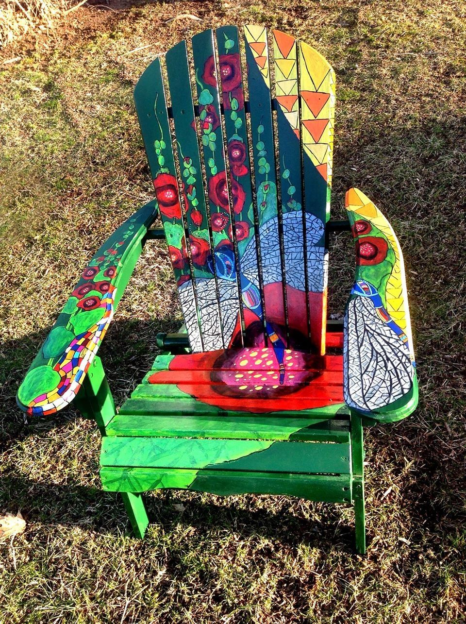 Painted chairs pinterest - Dragonfly And Hollyhock Painted Adirondack Chair