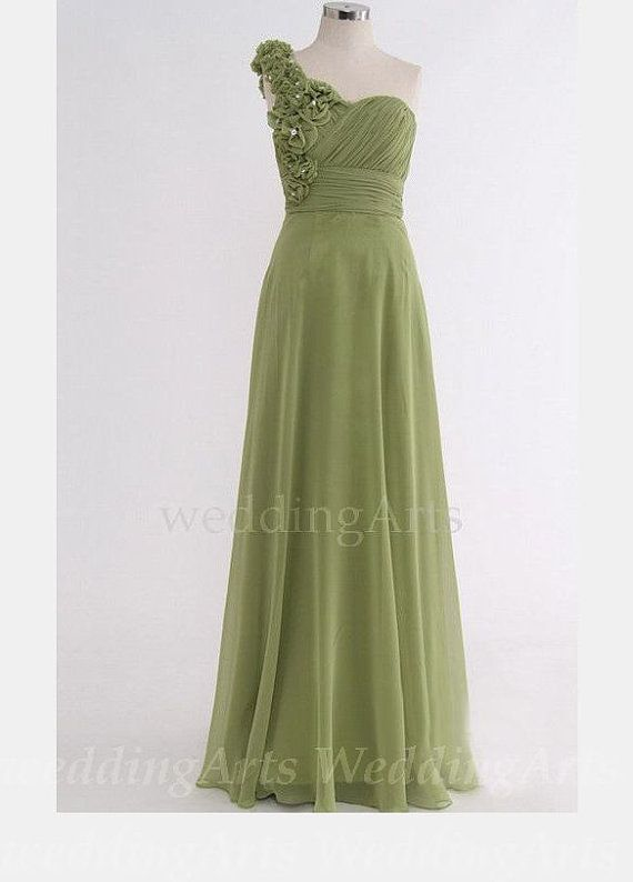 Buy Moss green Bridesmaid dress with roses one shoulder Custom 120 ...