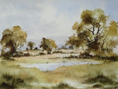Aquarelle Paysage Anglais Arbres Mare Etang Lac Campagne Abby
