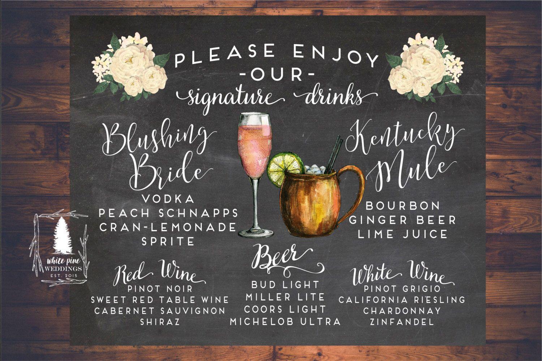 Blushing Bride Signature Drinks sign, Wedding Signature