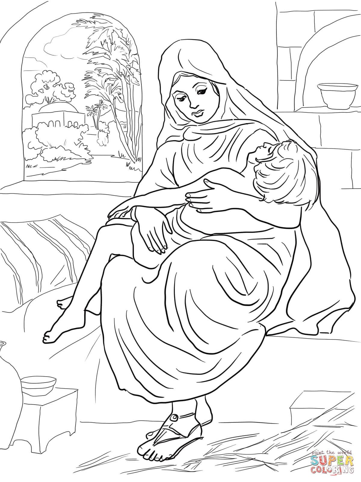 Shunammite Woman And Her Son Coloring Page Free Printable
