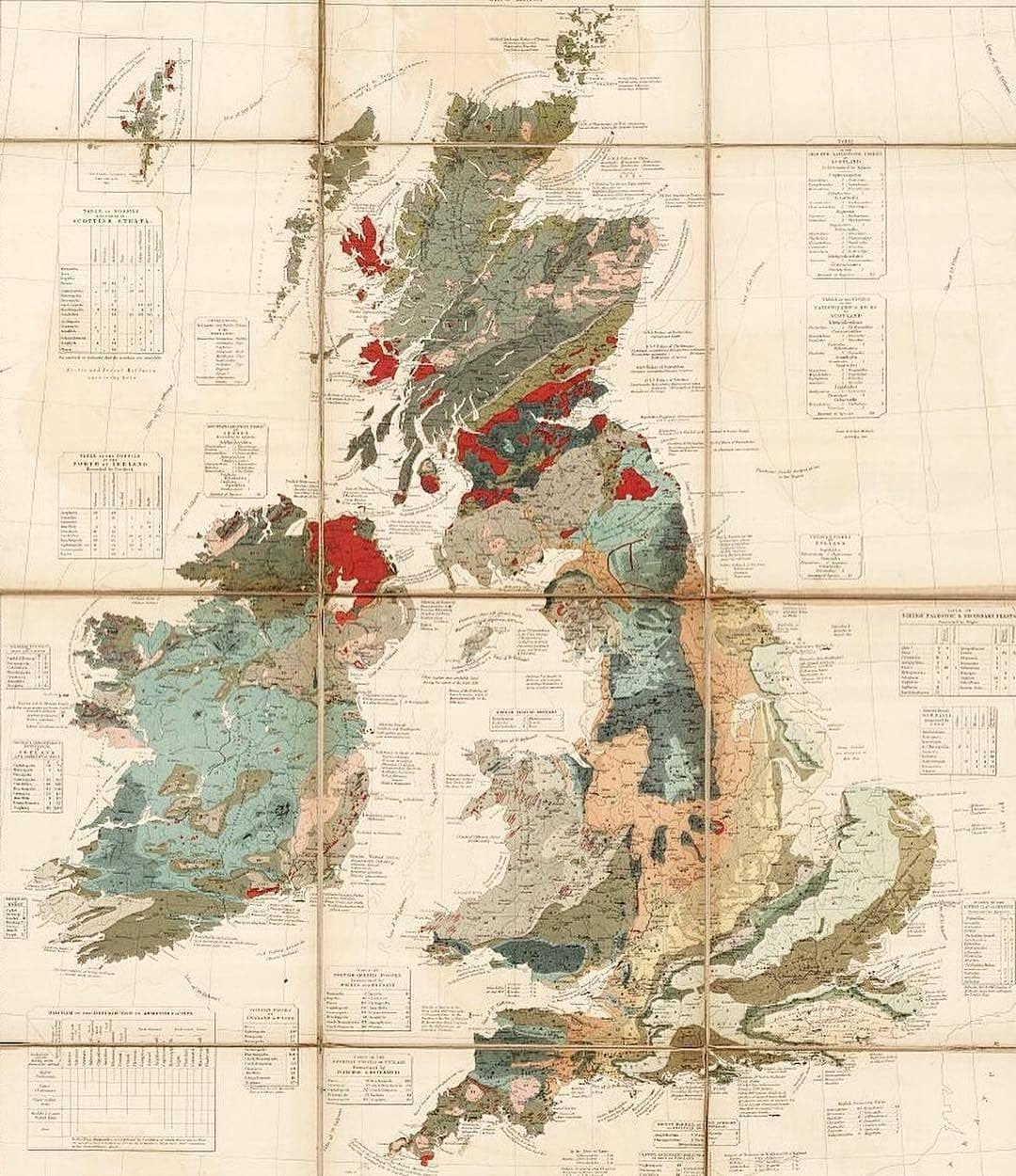 Geological, palaeontological map of the British Islands ... on