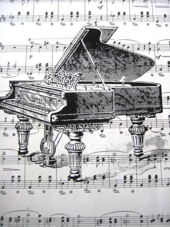 Vintage Sheet Music Print Antique Piano By