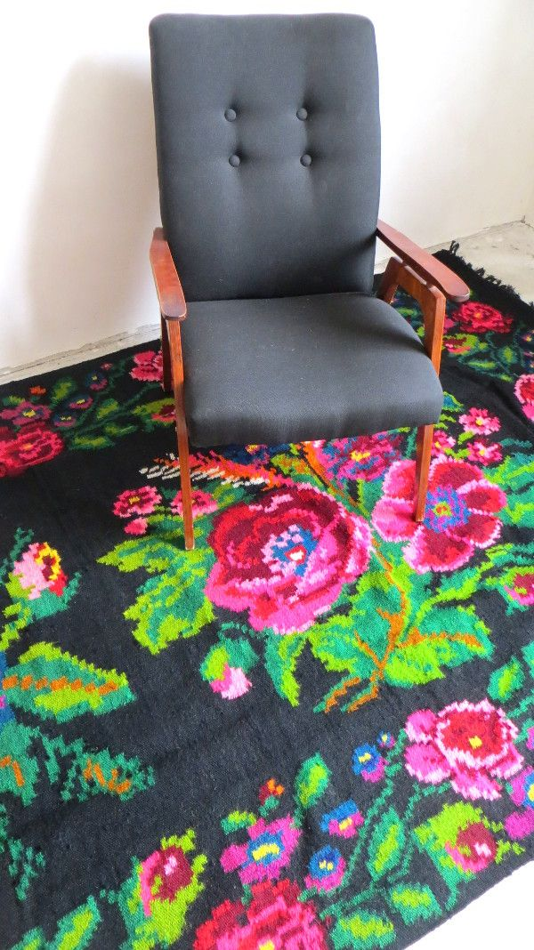 Floral kilim kilim with roses long area rugs with flowers - Alfombras lavables ikea ...