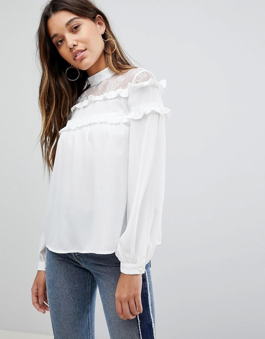 c5d4242ebc  Valentines  AdoreWe  ASOS -  Fashion Union Fashion Union High Neck Blouse  With High Neck And Ruffle Detail - White - AdoreWe.com