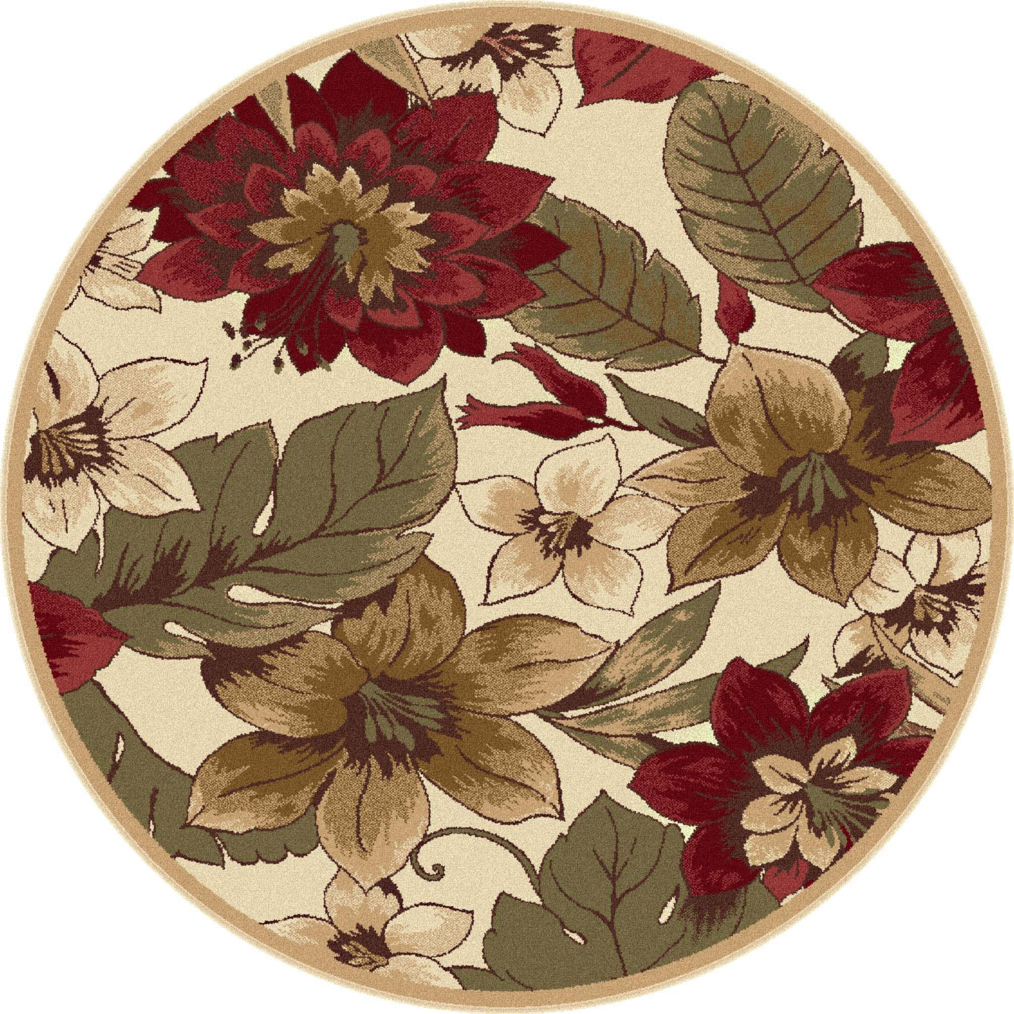 Alise Infinity Ivory Round Rug ( 5' 3) (Infinity Collection 5' 3'' Round Rug), Red, Size 5'3 (Plastic, Floral)