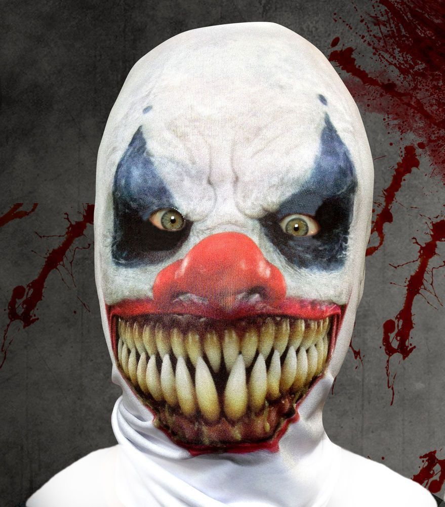 Details about DEMON CLOWN 3D EFFECT FACE SKIN LYCRA FABRIC FACE ...