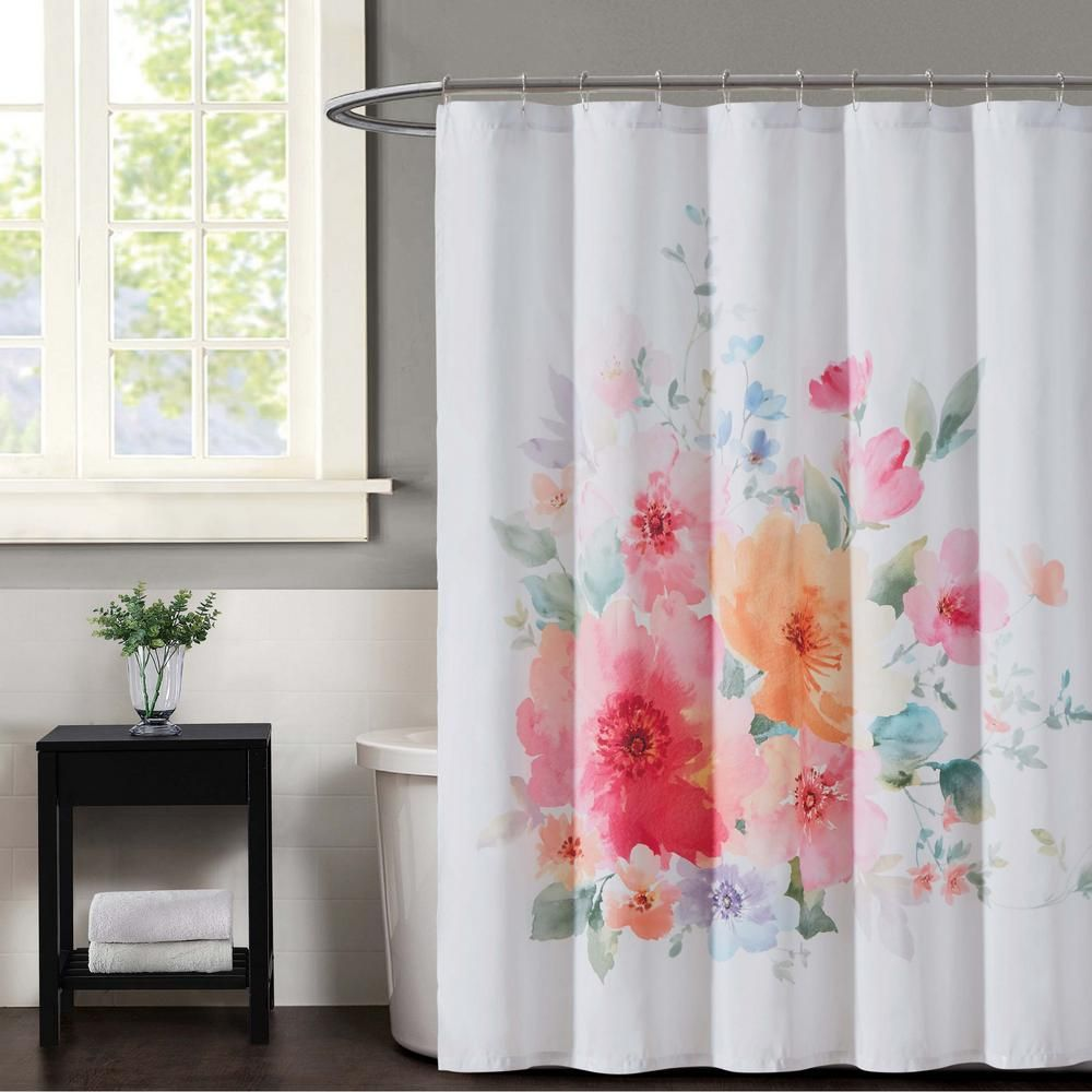 Christian Siriano Bold Floral Multiple Shower Curtain Sc2365 6200 Floral Shower Curtains Shower Curtain Hooks Curtain Patterns