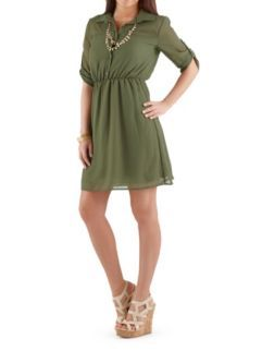 Sheer Tab Sleeve Shirt Dress at Dots