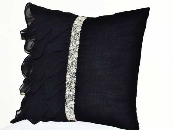 Fancy Black Ruffled Sequin Throw Pillow 18x18 Decorative Pillow