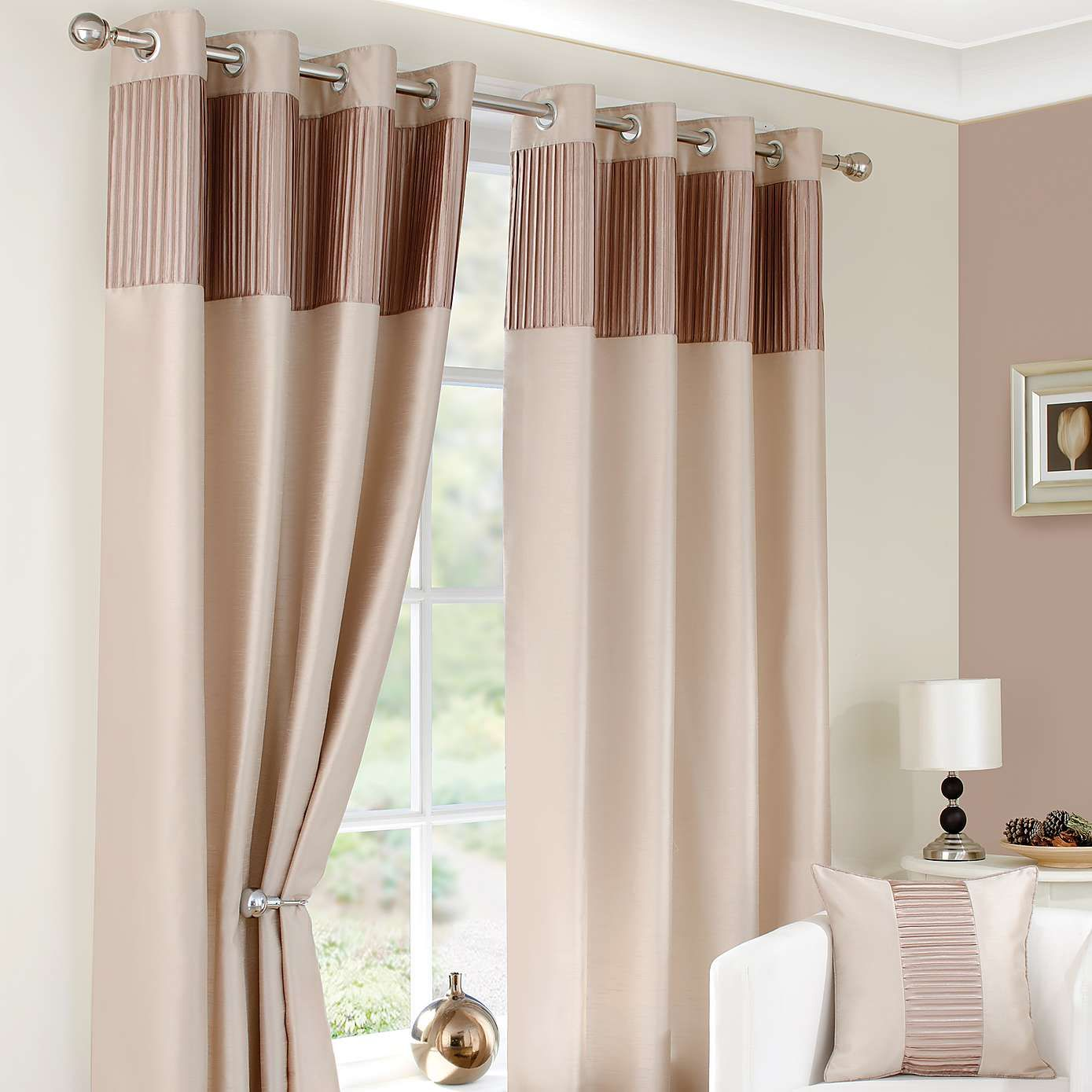 Taupe montreal lined eyelet curtains dunelm interior design curtains curtains dunelm for Lined valances for living room