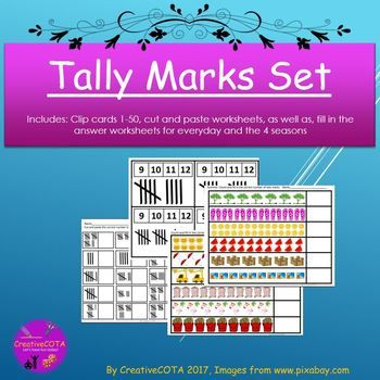 Included in this tally mark set: count and clip cards 1-50, 2 cut ...