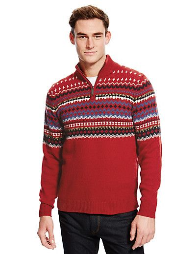 Wool Rich Placement Fair Isle Zip Neck Jumper | M&S | Christmas ...
