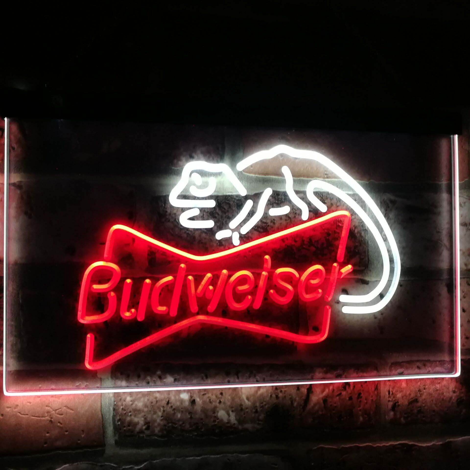 Budweiser Lizard Bar Decoration Gift Dual Color Led Neon Light Signs St6 A2084 Led Neon Signs Neon Signs Neon Light Signs
