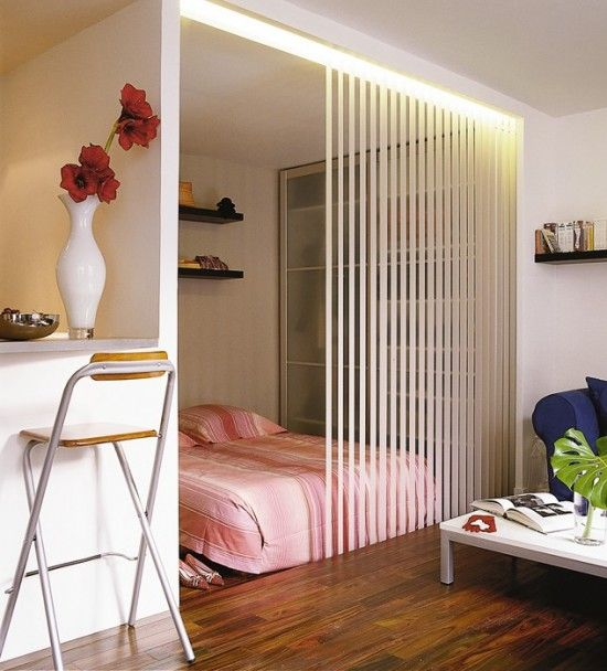 Create A Bed Alcove With Vertical Blinds Studio Apartment Decorating Small Room Design Apartment Decor