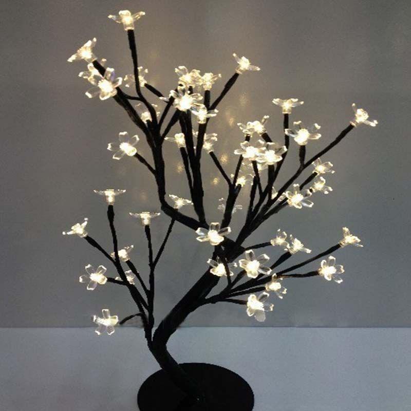 36 78us Led Crystal Cherry Blossom Tree Light Night Lights Table Lamp Christmas Fairy Wedding Decoration Room Indoor Lighting Luminarias Night Light Table La Dekorasyon Evler Ev Dekorasyonu