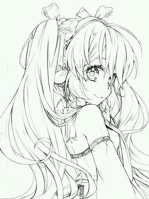 Hatsune Sweet Anime Sketch Anime Drawings Anime Lineart