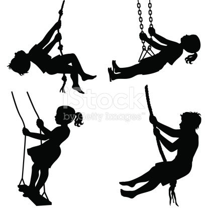 Boys and girls having fun on different swings including rope swings ...