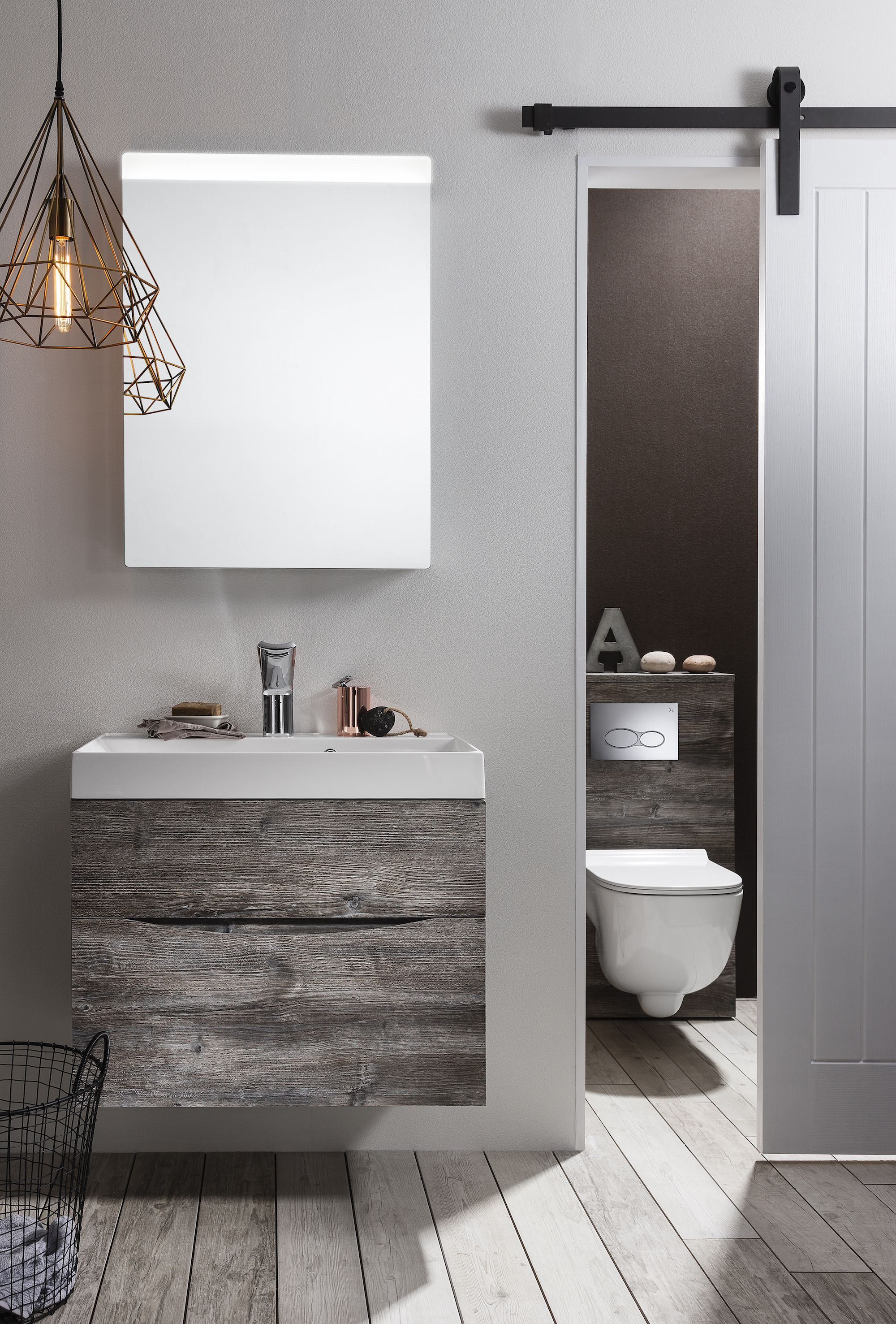 The Driftwood Finish Of Furniture From Bathroom Specialist Bauhaus Combines Sleek Lines With A Rough Luxe