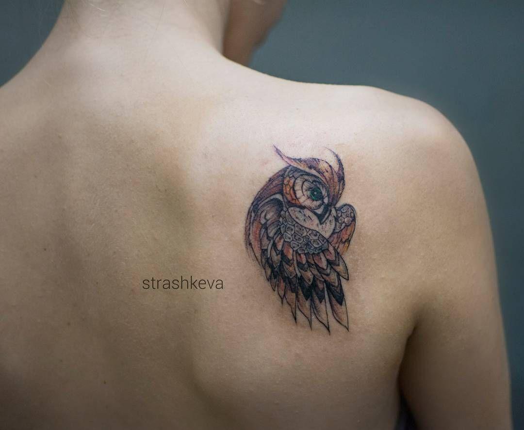 Simple Minimalist Owl Tattoo: #tattoo #strashkeva #owl #owltattoo #minitattoo