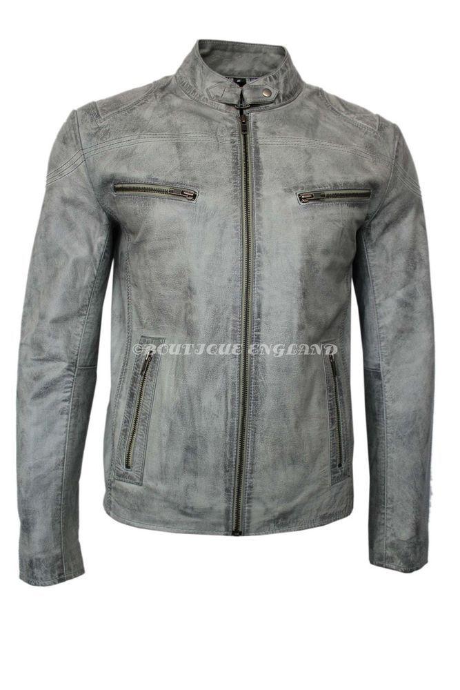 a050351dc Mens Grey Stonewashed Retro Biker Style Strong 100% Buffalo Leather ...