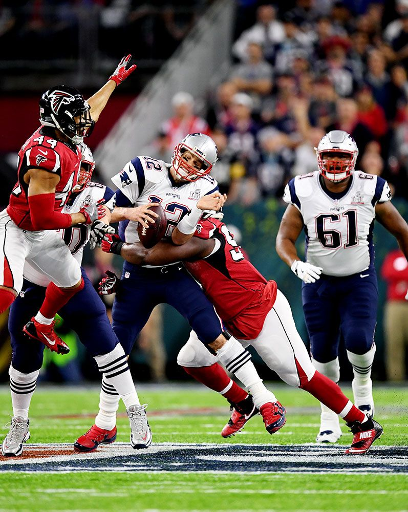New England Patriots quarterback Tom Brady gets sacked by Atlanta Falcons  defensive tackle Grady Jarrett. c7569e5c5