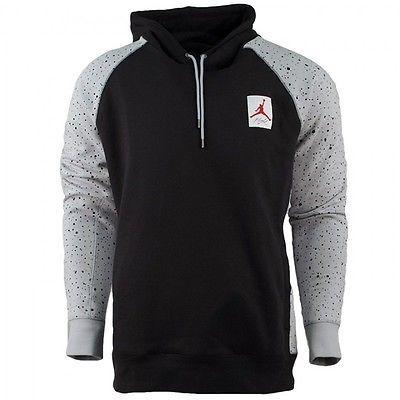 a644195d180c21 Nike Air Jordan 4 Speckled Pull Over Hoodie Mens 821903-010 Black Hoody  Size L