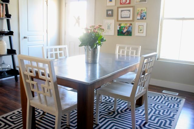 Stainless Steel Top Dining Table Pottery Barn Rustic Kitchen
