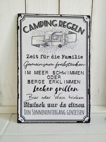 Camping Outdoor Blechschild Camping Regeln Ein