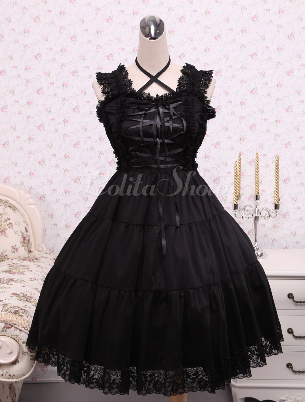 945a4de923c Pure Black Cotton Lolita Jumper Skirt Lace Trim Lace Up Waist Belt ...