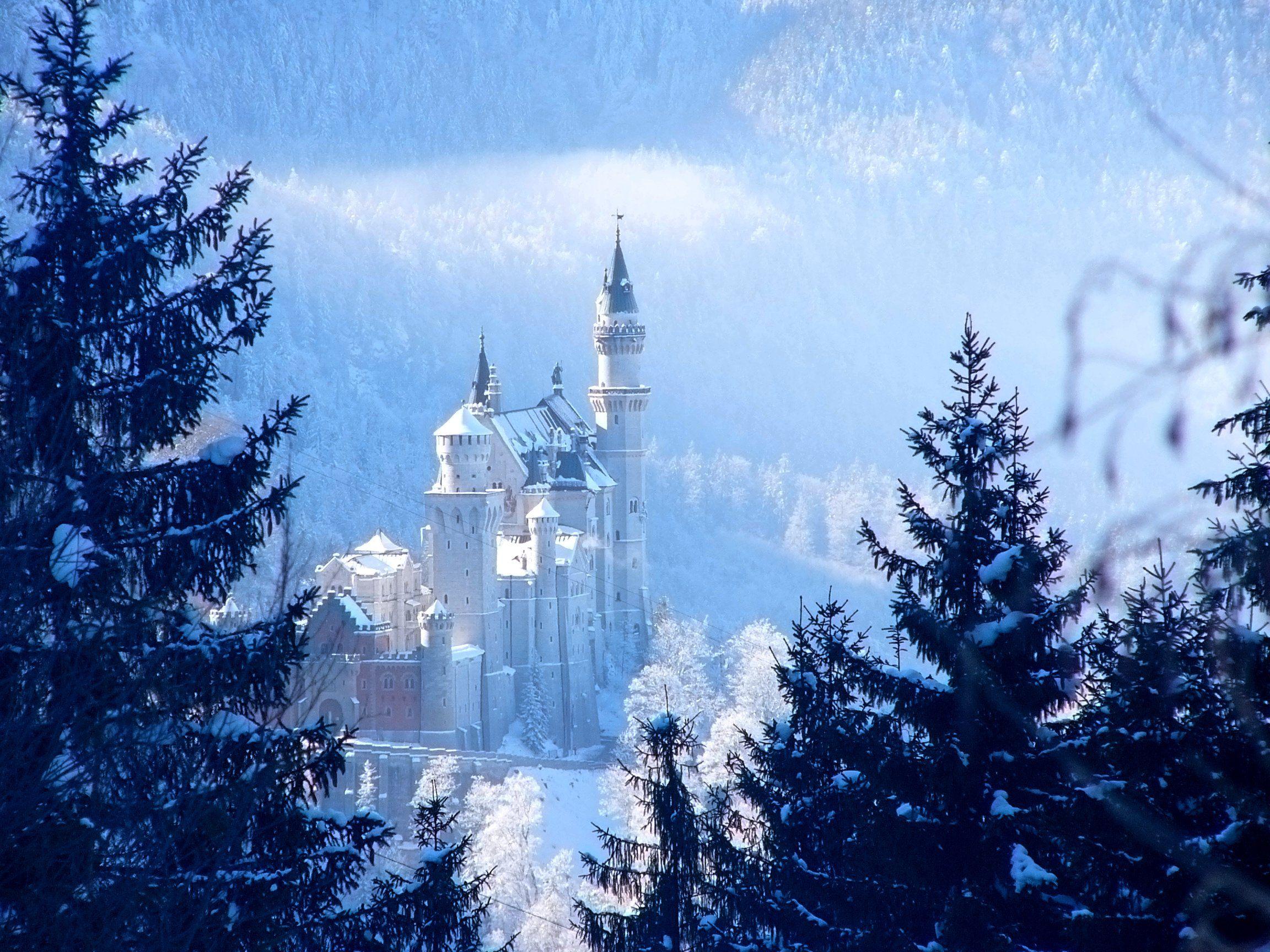 File Schloss Neuschwanstein Im Winter Jpg Wikimedia Commons Neuschwanstein Castle Romantic Road Castle Bavaria