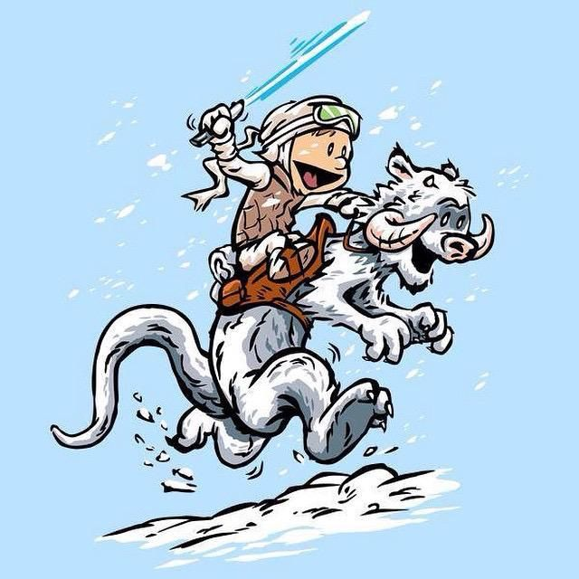 Calvin as Luke and Hobbes as a Tauntaun from Star Wars TESB, in the style of B.Watterson