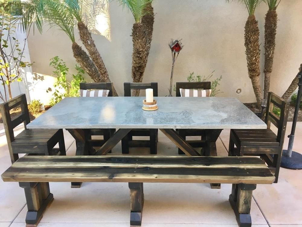 Concrete Table Tops, 10 Coats Of Sealer. Wood Base Has 4 Coats Of Top  Quality Indoor Or Outdoor Sealer. Set Is All Hand Crafted With Finish On  Base To Look ...
