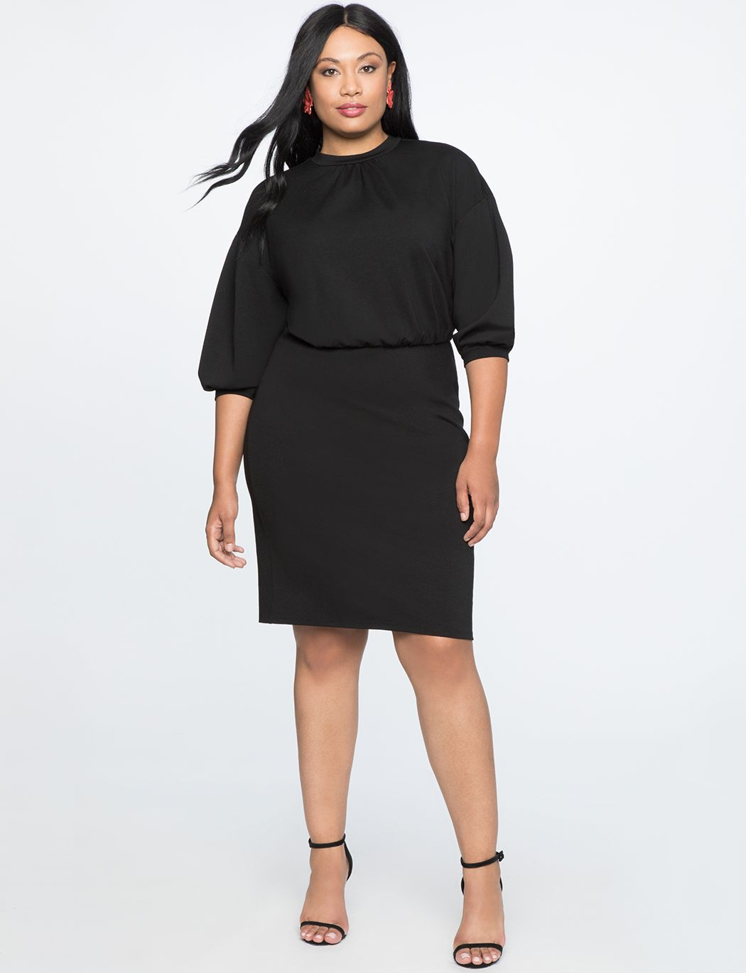 056ff8850e Puff Sleeve Tie Back Ponte Dress in 2019