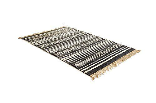 Webteppich teppich schwarz weiß baumwolle jute 170x240 pureday http
